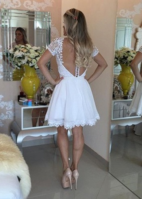 Lovely Short Sleeve White Homecoming Dress 2020 Lace Short Pearls BT0_3