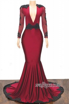Lace-Appliques Sexy Mermaid Long-Sleeves Prom Dresses_3