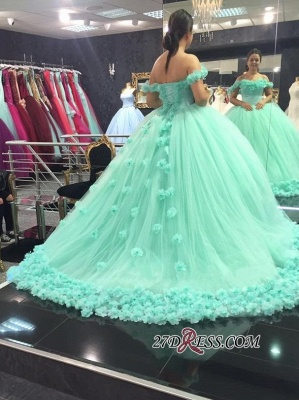 Off-The-Shoulder Cloud Rose-Flowers 2020 Mint-Green Ball-Gown Prom Dresses_3