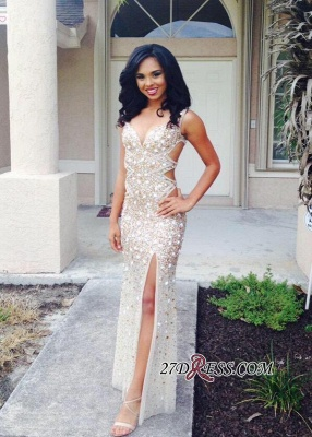 Front-Split Gorgeous Floor-length Crystals Sleeveless V-neck Prom Dress BA4156_3