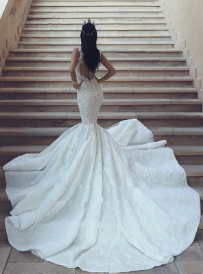 Gorgeous V-Neck Wedding Dress | 2020 Mermaid Lace Bridal Gowns On Sale_4