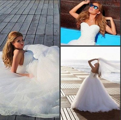 Timeless Tulle Beadings White 2020 Wedding Dress Plus Size Lace-up Sweetheart_4