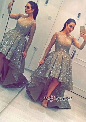 Luxurious Sequins Party Long-Sleeves Beadings Hi-Lo Homecoming Prom Dress BA3735_4
