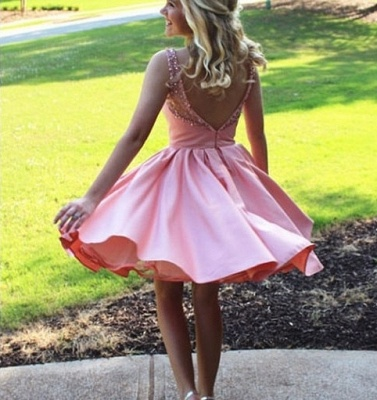 Beaded Sweetheart Pink Bateau A-line Excellent Homecoming Dresses_3