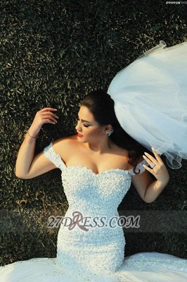 Sexy Off-shoulder Mermaid Tulle Wedding Dress With Beadings Lace_5