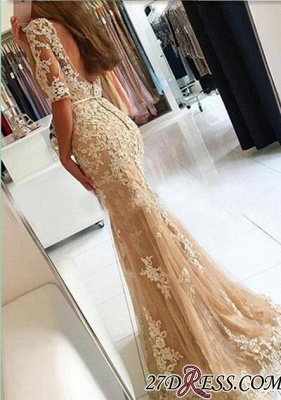 Lace Open-Back Half-Sleeves Mermaid Champagne Prom Dresses BA4982_1