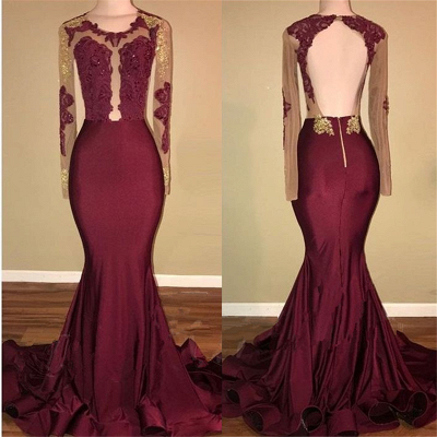 Burgundy Long-Sleeve Prom Dress | 2020 Lace Long Evening Gowns BA8439_3