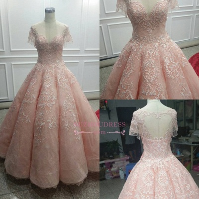 Fairy Ball-Gown Pink Short Sleeves 2020 Prom Dress Princess With Lace BC1621_1