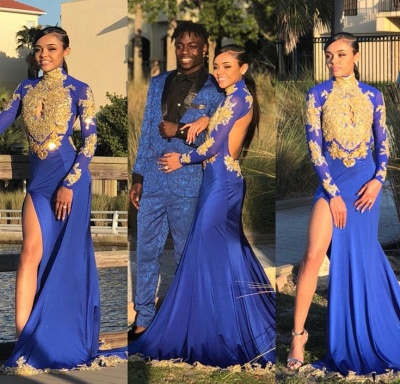 Long Sleeve Gold Appliques Prom Dress   Evening Gowns With Slit BK0_3