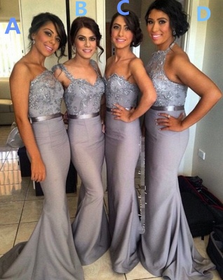 Different Styles Lace Appliques Mermaid Bridesmaid Dress 2020_5