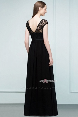 Short Floor-length Lace Dresses Sleeves A-line Bridesmaid with Sash_3