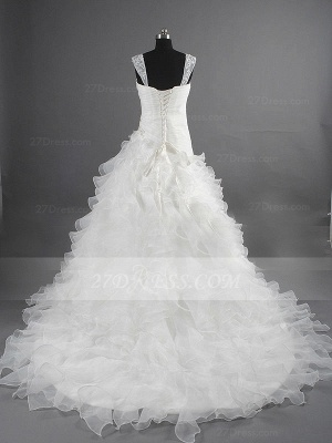 Sequins Straps Ball Gown Bridal Gowns White Organza Wedding 2020 Sleeveless Tiered Lace-up Gowns_4