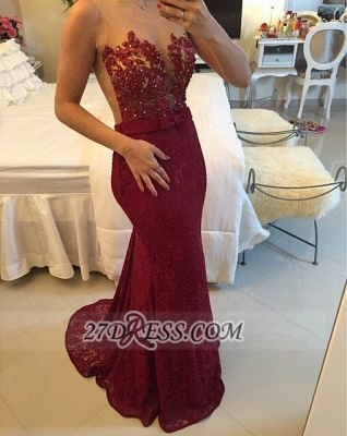 Sexy Illusion Sleeveless Long Prom Dress Pearls Lace Mermaid Evening Gown BT0_1