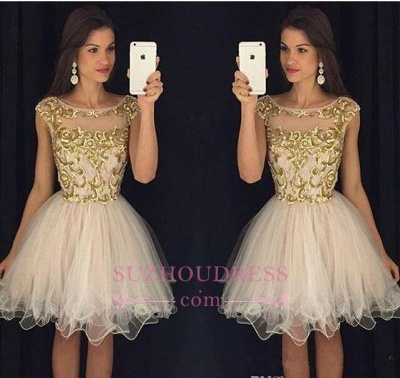 Champagne Gold Sheer Neckline Capped-Sleeves Homecoming Dresses AP0 ba3580_1
