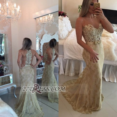 Sexy Illusion Sleeveless Long Prom Dress Pearls Lace Mermaid Evening Gown BT0_3