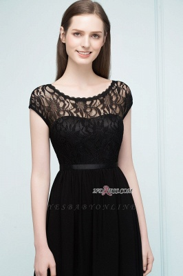 Short Floor-length Lace Dresses Sleeves A-line Bridesmaid with Sash_4