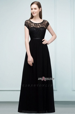 Short Floor-length Lace Dresses Sleeves A-line Bridesmaid with Sash_8