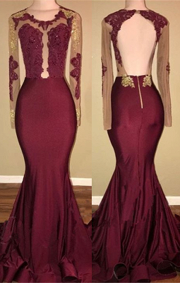 Burgundy Long-Sleeve Prom Dress | 2020 Lace Long Evening Gowns BA8439_1