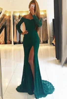 Green Lace Long-Sleeves Side-Slit Elegant Off-the-Shoulder Prom Dresses BA7153_2