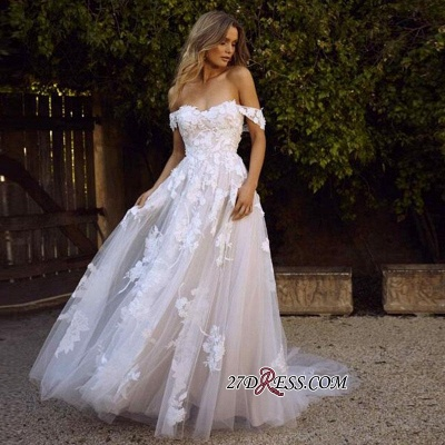Charming Tulle Appliques A-line Lace Off-the-shoulder Wedding Dresses_3