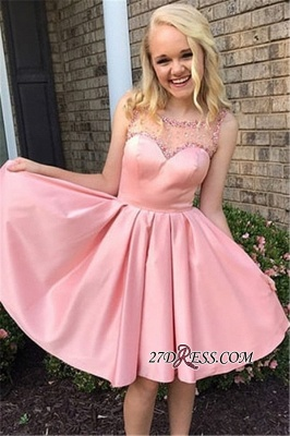 Beaded Sweetheart Pink Bateau A-line Excellent Homecoming Dresses_2