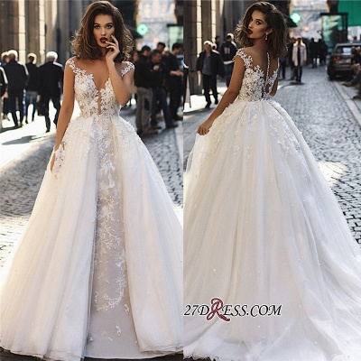 Overskirt Stunning V-Neck Appliques A-Line Lace Long Sleeveless Wedding Dresses BC1129_1