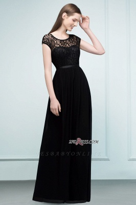 Short Floor-length Lace Dresses Sleeves A-line Bridesmaid with Sash_6