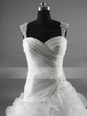 Sequins Straps Ball Gown Bridal Gowns White Organza Wedding 2020 Sleeveless Tiered Lace-up Gowns_2