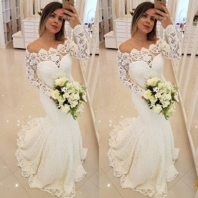 Gorgeous Long Sleeve Lace Wedding Dresses | 2020 Mermaid Long Bridal Gowns_2