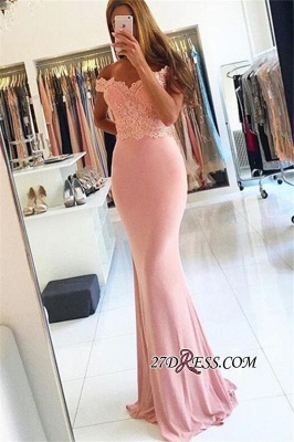 2020 Lace Beading Off-the-shoulder Pink Sexy Sheath Spandex Long Cheap Evening Dresses BA4148_4