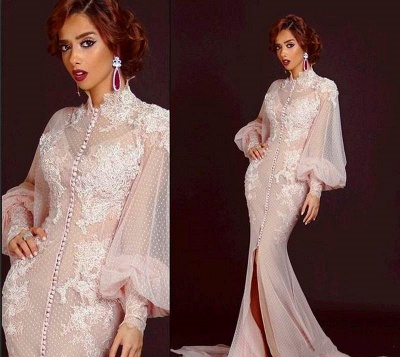 Modern High Neck Long Sleeve Mermaid Prom Dress With Lace Appliques_2