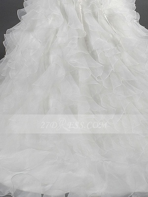 Sequins Straps Ball Gown Bridal Gowns White Organza Wedding 2020 Sleeveless Tiered Lace-up Gowns_3