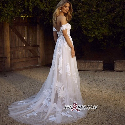 Charming Tulle Appliques A-line Lace Off-the-shoulder Wedding Dresses_2