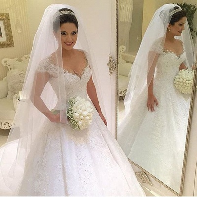 Newest V-neck Tulle Lace Appliques Wedding Dress 2020 Ball Gown Beadings Court Train BA2915_3