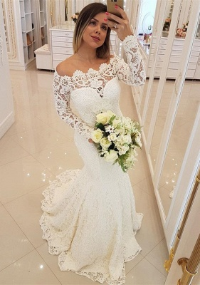 Gorgeous Long Sleeve Lace Wedding Dresses | 2020 Mermaid Long Bridal Gowns_1