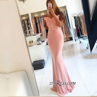 2020 Lace Beading Off-the-shoulder Pink Sexy Sheath Spandex Long Cheap Evening Dresses BA4148_1