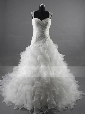 Sequins Straps Ball Gown Bridal Gowns White Organza Wedding 2020 Sleeveless Tiered Lace-up Gowns_1