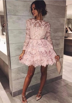 Gorgeous Long Sleeve Lace Homecoming Dress | 2020 Short Party Gown BC1911_1