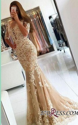 Lace Open-Back Half-Sleeves Mermaid Champagne Prom Dresses BA4982_2