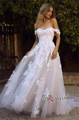 Charming Tulle Appliques A-line Lace Off-the-shoulder Wedding Dresses_4