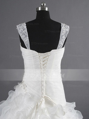 Sequins Straps Ball Gown Bridal Gowns White Organza Wedding 2020 Sleeveless Tiered Lace-up Gowns_5