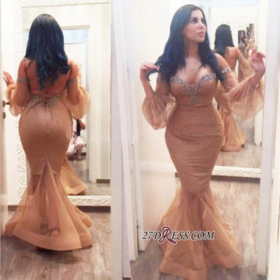 Off-the-Shoulder Hot Sequins Mermiad Backless Plus-Size Evening Gown_1