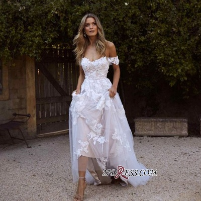 Charming Tulle Appliques A-line Lace Off-the-shoulder Wedding Dresses_1