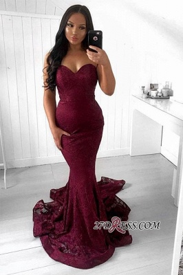 Charming Burgundy Mermaid Lace Sweetheart Prom Dress_1