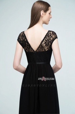 Short Floor-length Lace Dresses Sleeves A-line Bridesmaid with Sash_7