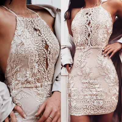Halter Appliques Short Prom Dress | 2020 Mini Homecoming Dress_3
