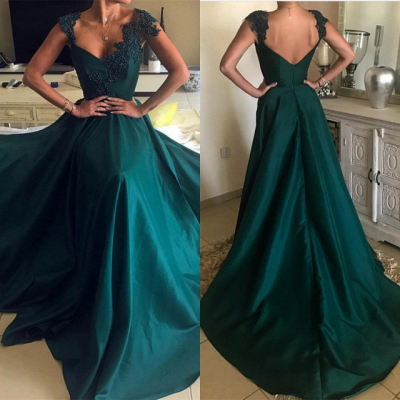 Elegant Green Sleeveless Prom Dresses | 2020 Long Evening Gowns With Beads_3