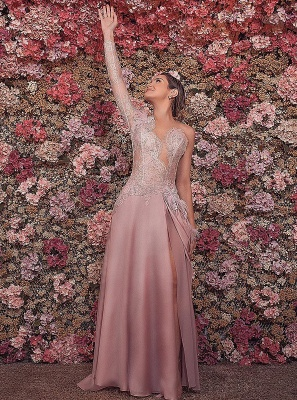Luxurious One-shoulder Mermaid Floor-Length Evening Dress   Feather Front Split Lace Prom Gown On Sale_1