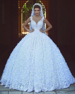 Charming V-Neck Sleeveless Bridal Gowns | Empire Lace Appliques Ball Gown Wedding Dress_1