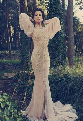 Modern High Neck Long Sleeve Mermaid Prom Dress With Lace Appliques_1